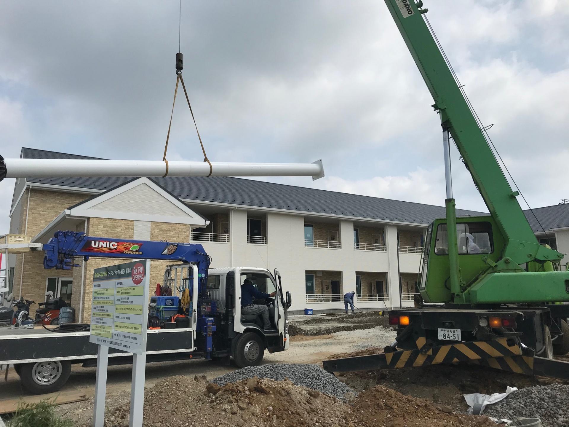 茨城県つくば市 新規オープン素泊まりホテル様の看板塔を施工致しました。